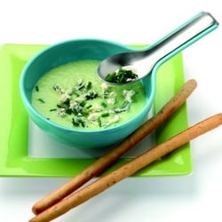 Chilled spring onion soup with blue cheese