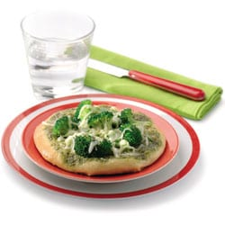 Mini pizza's with basil and broccoli