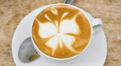Cappuccino with butterfly froth pattern